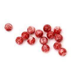 Мънисто плътно топче 8 мм дупка 1 мм рисувано бяло и червено -50 грама ~ 170 броя