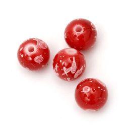 Мънисто плътно топче 10 мм дупка 2 мм бяло и червено рисувано -50 грама ~ 78 броя