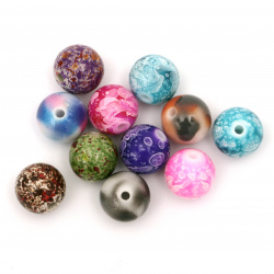 Мънисто плътно топче 14 мм дупка 2.5 мм цветно АСОРТЕ -20 грама ~13 броя