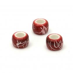 Мънисто плътно цилиндър 9x6 мм дупка 4 мм рисувано цвят червен -50 грама ~175 броя