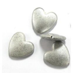 Сърце 24x25x7 мм дупка 1.5 мм рисувано с брокат бяло -50 гр ~18 броя