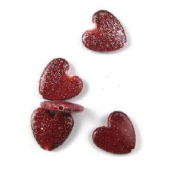 Сърце 24x25x7 мм дупка 1.5 мм рисувано с брокат червено -50 гр ~18 броя