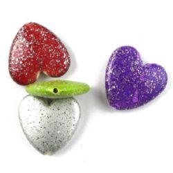 Acrylic beads heart  24 x 25 x 7 mm