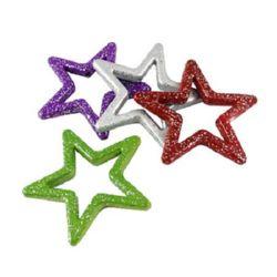 Звезда 49x48x6 мм дупка 2 мм рисувана с брокат цветна -50 гр -11 броя