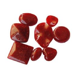 Assorted opaque beads with glitter 6-48x6-35x5-22 mm red - 50 grams