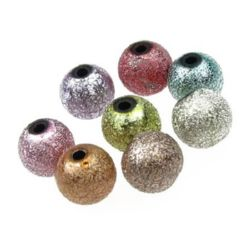 Χάντρα ανάγλυφη στρογγυλή  10 mm τρύπα 2 mm μίξ χρώμα -20 γραμμάρια