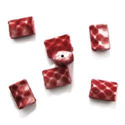 Правоъгълник 22x15x9 мм дупка 2 мм с мъх червен с бяло -50 гр ± 25 броя
