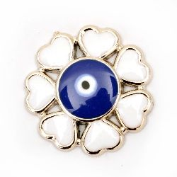 Χάντρα CCB πλαστική Λουλούδι  24x3,5 mm μπλε μάτι - 5 τεμάχια