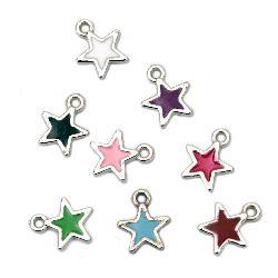 Висулка CCB звезда 12x11x2 мм дупка 1 мм цветна -10 броя
