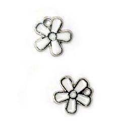 Pandantiv floare CCB 13x12x1,5 mm gaură 1 mm alb -10 bucăți