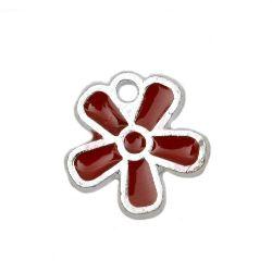 Pandantiv floare CCB 13x12x1,5 mm gaură 1 mm roșu -10 bucăți