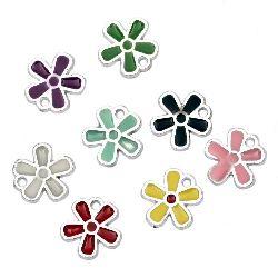 Κρεμαστό  CCB πλαστικό  λουλούδι  13x12x1,5 mm τρύπα 1 mm χρωματιστό -10 τεμάχια