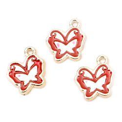 Висулка CCB пеперуда 15x15x2 мм дупка 1.5 мм червена -10 броя