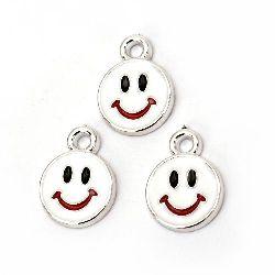Висулка CCB усмивка 20x15x2.5 мм дупка 2.5 мм бяла -10 броя