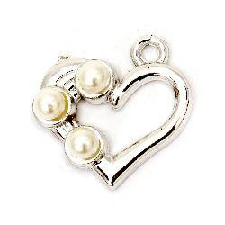 Pandantiv inimă CCB cu perle gaură 25x3 mm 2 mm - 10 bucăți