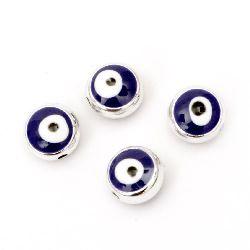 Мънисто CCB кръг 10x7 мм дупка 1 мм синьо око - 10 броя