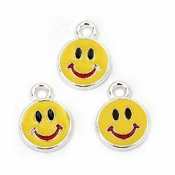Висулка CCB усмивка 20x15x2.5 мм дупка 2.5 мм жълта -10 броя