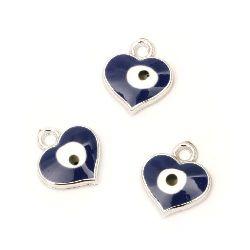 Висулка CCB сърце 17x15 мм дупка 2 мм синьо око -10 броя