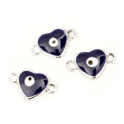 Element de conectare CCB inimă 24x15x3,5 mm gaură 2 mm ochi albastru -10 bucăți