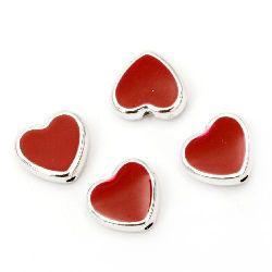 Χάντρα CCB πλαστική καρδιά 11x12x5 mm τρύπα 1 mm κόκκινο - 10 τεμάχια