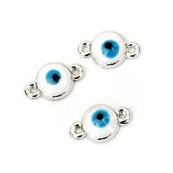 Свързващ елемент CCB 17x10x3 мм дупка 1 мм бял синьо око -10 броя