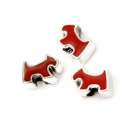 Margele  CCB câine 15x11x8 mm gaură 4 mm roșu - 10 bucăți