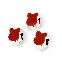 Margele CCB iepure 13x10x8 mm gaură 4,5 mm roșu - 10 bucăți