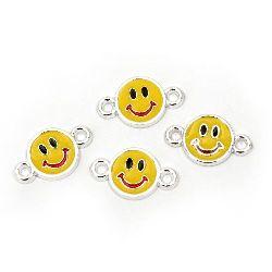 Свързващ елемент CCB усмивка 25.5x15x3 мм дупка 2 мм жълта -10 броя