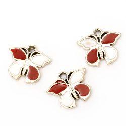 Висулка CCB пеперуда 22x26x3 мм дупка 3 мм бяла-червена -10 броя