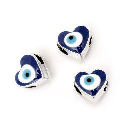MargeleCCB inimă 12x13x10 mm gaură 5 mm ochi albastru - 5 bucăți