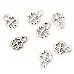 Pandantiv trifoi CCB 12x8,5x2,5 mm orificiu 1,5 mm culoare argintiu -20 bucăți