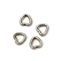 Margele CCB inimă 9x8x3 mm gaură 1 mm culoare argintiu -50 bucăți