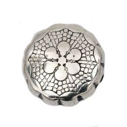 Мънисто CCB паричка 15x6 мм дупка 0.5 мм цвят сребро -10 броя