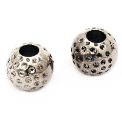 Margele bilă CCB  14x12 mm gaură 5 mm culoare argintiu -20 bucăți