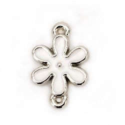 Свързващ елемент CCB цвете 24x16x4 мм дупка 1 мм цвят бял -10 броя
