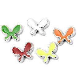 Bead CCB butterfly 20x15x6 mm hole 2 mm colored - 5 pieces