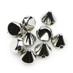 Шип CCB 8x8 мм дупка 1 мм сребро -50 броя ~11 грама
