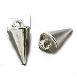 Висулка CCB шип 18x9 мм дупка 2 мм цвят сребро -50 броя