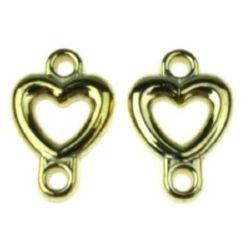Свързващ елемент сърце CCB 21x14x3.5 мм дупка 2 мм цвят злато -20 грама ~ 43 броя