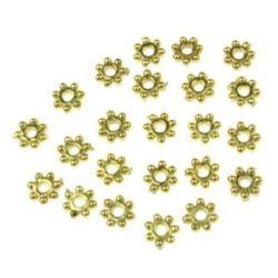 Margele CCB floare 4x1 mm gaură 1 mm culoare auriu -10 grame ~ 870 bucăți