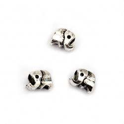 Margele CCB elefant 8x10x8 mm gaură 5 mm culoare argintiu -20 bucăți