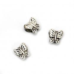 Margele CCB fluture 10x11x8 mm gaură 5 mm culoare argintiu -20 bucăți