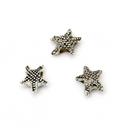 Мънисто CCB морска звезда 13x12x6.5 мм дупка 5 мм цвят сребро -50 броя