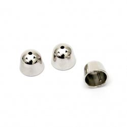 Мънисто CCB шапка/накрайник 14x17 мм дупка 2 мм и 13 мм цвят сребро -10 броя