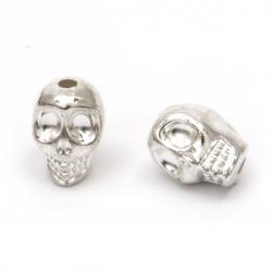 Мънисто CCB череп 13x10x11 мм дупка 2 мм цвят сребро -20 грама ±20 броя