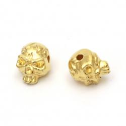 Мънисто CCB череп 12x9x10 мм дупка 2 мм цвят злато -20 грама ±40 броя