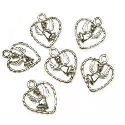 Κρεμαστό καρδιά με άγγελο CCB 19x15x3 mm τρύπα 2 mm χρώμα ασημί - 20 γραμμάρια ~ 90 τεμάχια