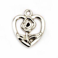 Висулка CCB сърце с роза 19x16x4 мм дупка 1.5 мм -20 броя