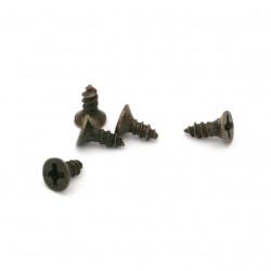 Șurub metalic 5x4x2 mm culoare bronz antic - 200 bucăți