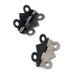 Метална панта 25x20x2.5 мм дупки 3 мм цвят антик бронз -4 броя